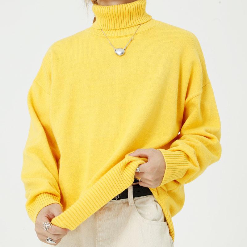 Homme Streetwear Casual lâche Couple pull en tricot Hommes Femmes col roulé à manches longues Pulls Pull