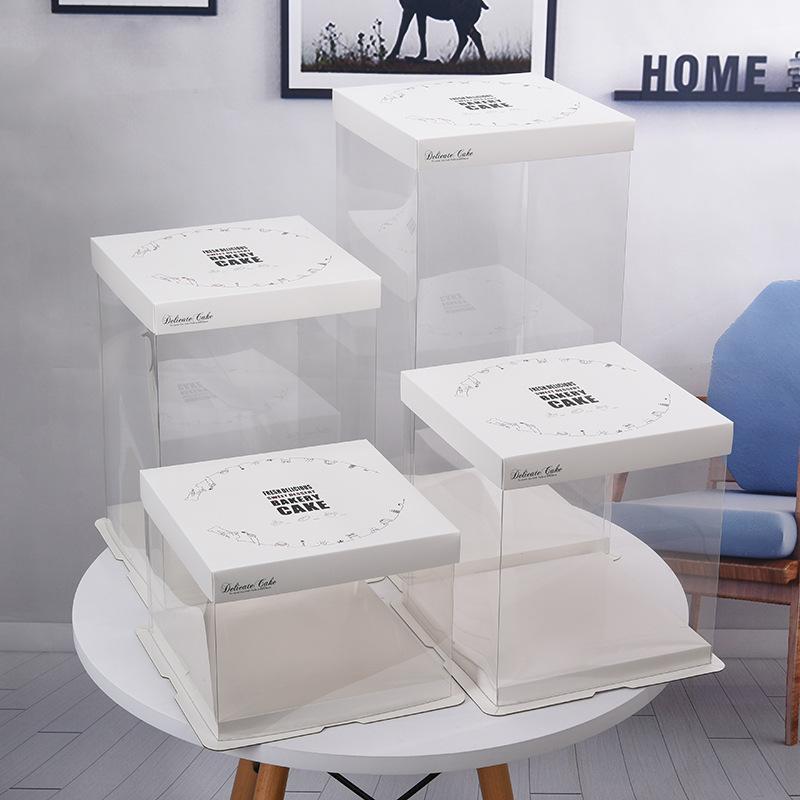 Blanc PVC Boîtes de carton gâteau d'emballage Boîte Magnifiquement mariage incluse dans le paquet de partie de gâteau de stockage Biscuit Boîte de papier Conteneurs