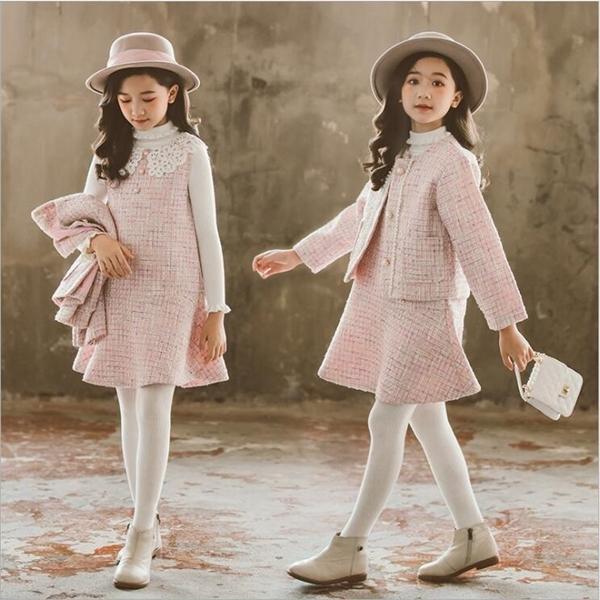 A roupa dos miúdos Meninas Set 2019 Lã Outono Inverno casacos e saias Boutique Kids Clothing Define Moda adolescente ocasional queda Outfits X0923