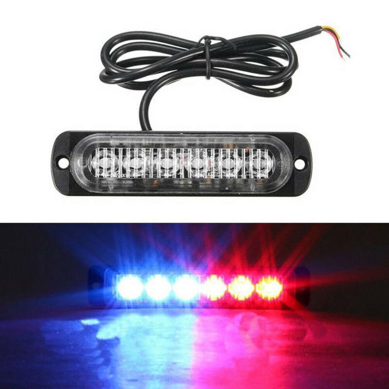 Azul Rojo 100Pcs 6 LED ultra-delgada del lado del coche de las luces marcadoras para los carros del estroboscópico del flash de la lámpara LED parpadeante de emergencia Luz de advertencia