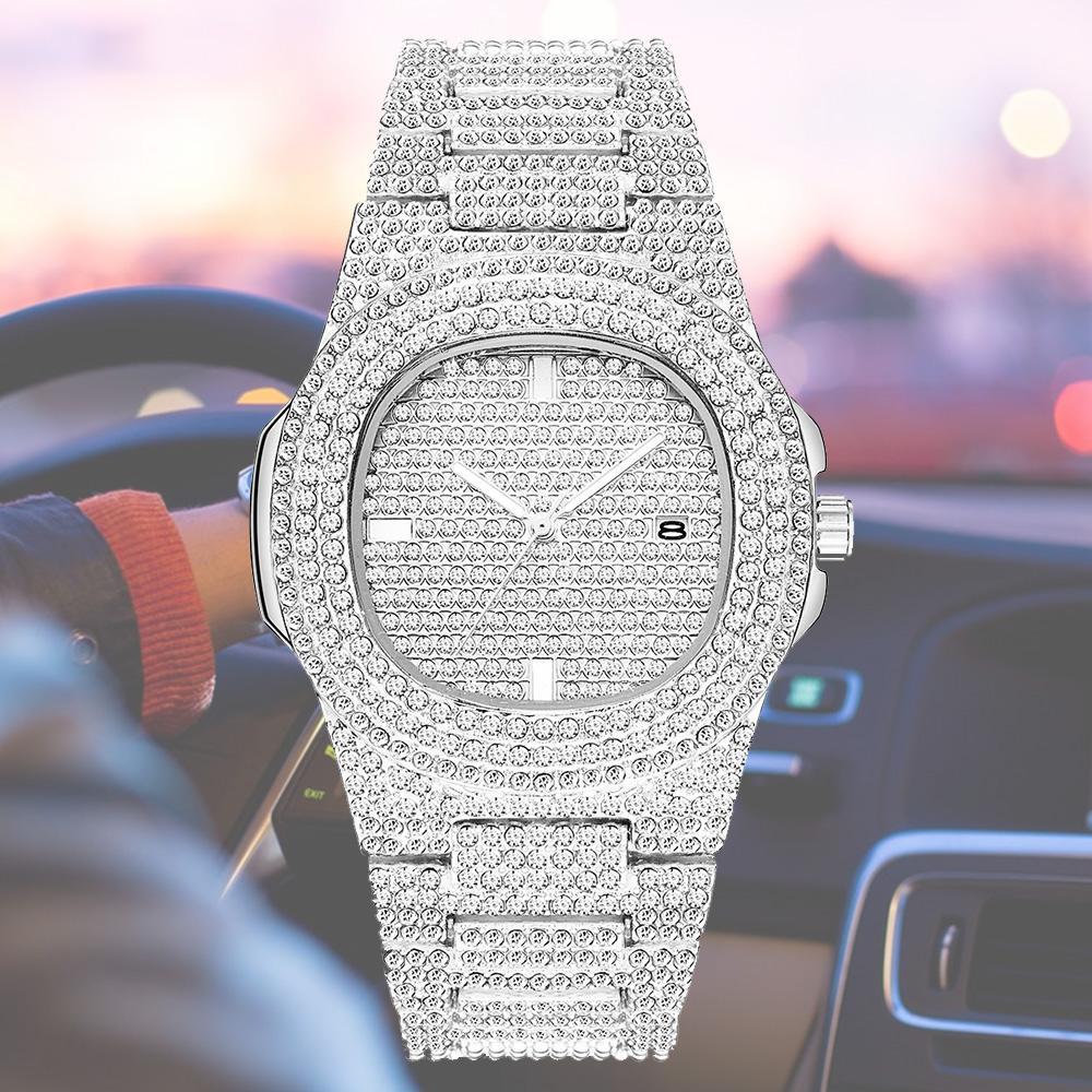 حار بيع رخيصة أزياء الرجال النساء ووتش الماس يثلج خارجا مصمم الساعات الفولاذ المقاوم للصدأ حركة كوارتز ذكر أنثى هدية بلينغ ساعة اليد