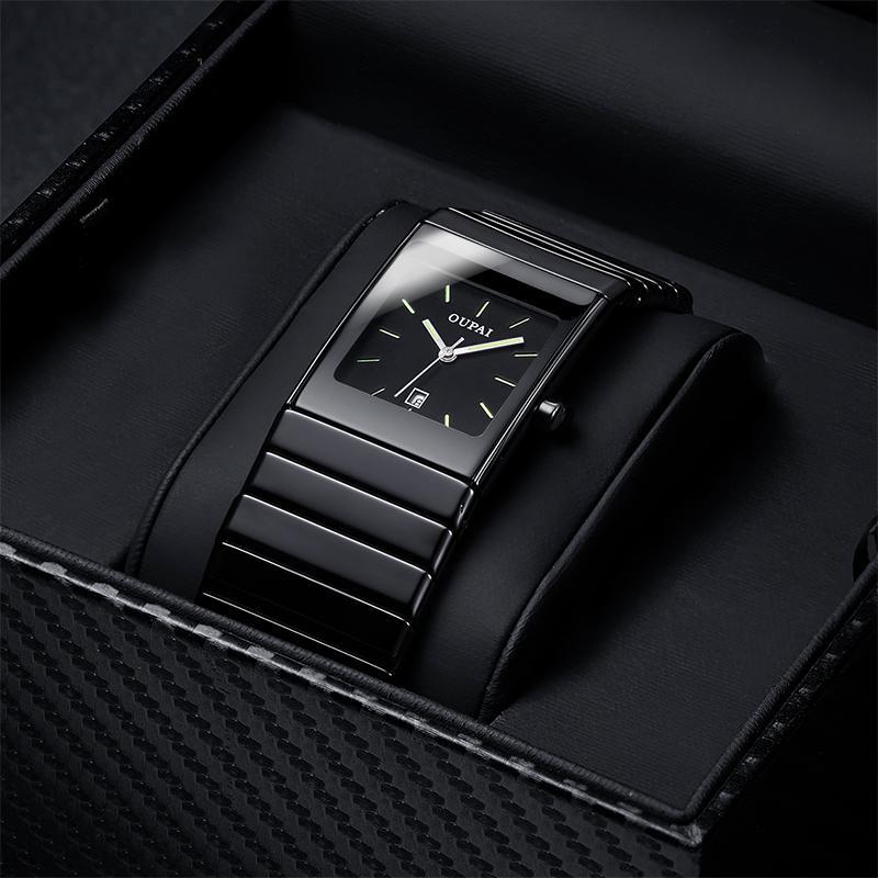 Oupai Classic Black Squire Calendario ceramica Dat Guarda Tritium Luce mens orologio al quarzo all'e luminoso impermeabile orologi militari T200812
