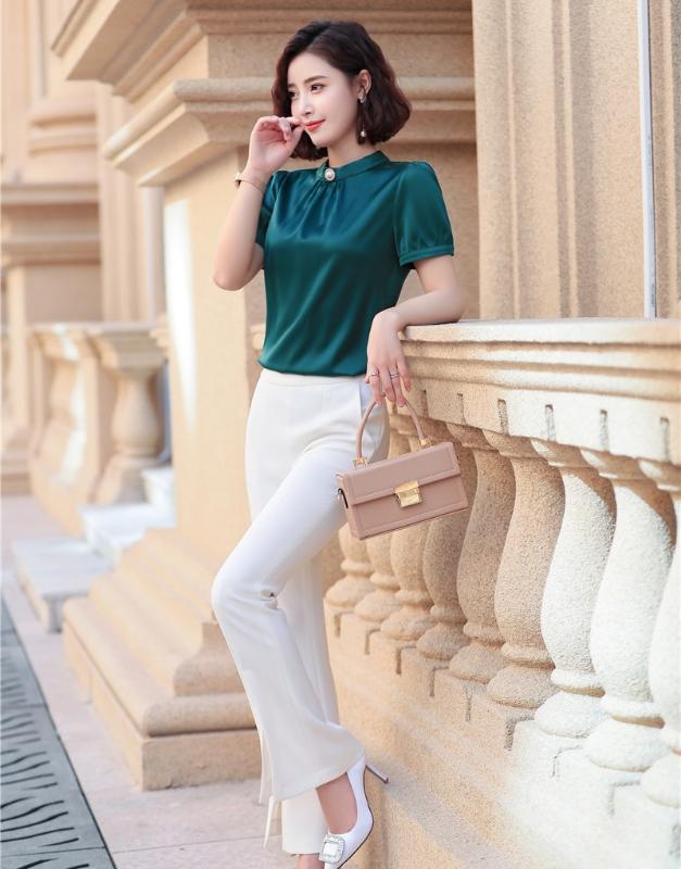 Biçimsel Stiller Kadınlar İş Bluzlar ile Suit ve Pantolon Moda Günlük Ofis Bayan Pantolon Suit 2020 Yaz Pantsuits