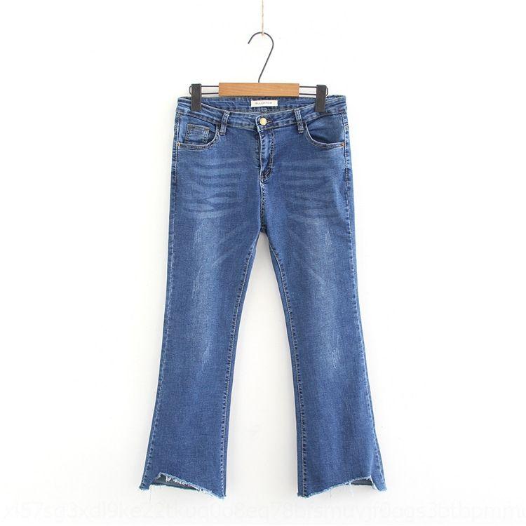 tamanho oJ5Mh primavera S41 novo estilo coreano mais MaXI8 calças de gordura e cintura trecho de emagrecimento micro altos buraco queimado de Bell calças Jeans Jeans MM 8080