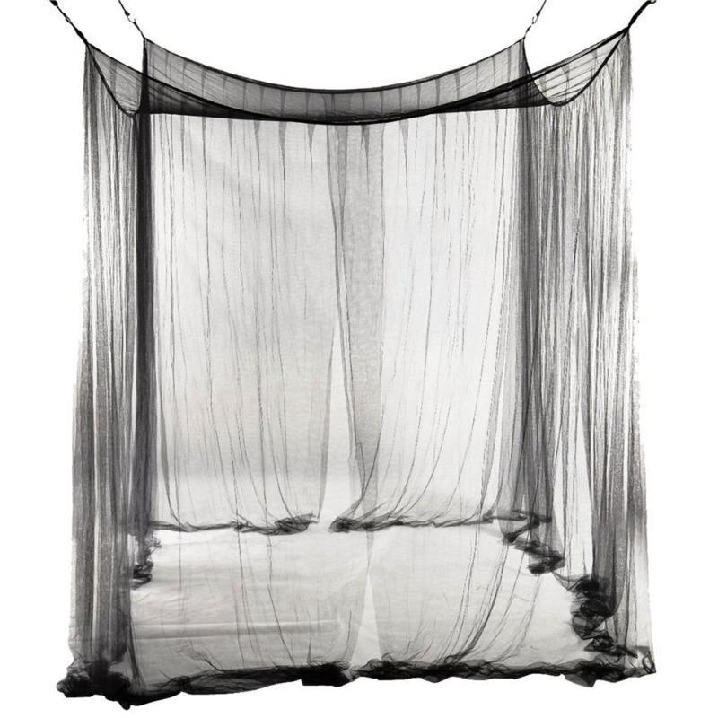 Kanopi Cibinlik Tam Netleştirme Yatak 190x210x240cm Yatak Avrupa Tarzı 4 Köşe Mesaj (Siyah)