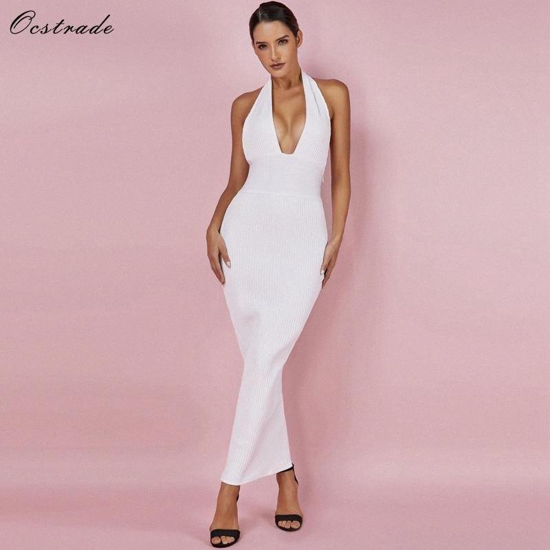 Платье Ocstrade женщин Sexy бинты 2020 Club Wear Summer Backless Белый Bodycon платья выдалбливают Vneck Длинные Maxi платье повязки Ladie DhtI #