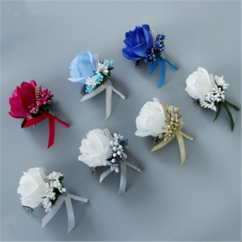 High Quanlity Ivory Red Best Man Corsage for Groom Groomsman Silk Rose Flower Wedding Suit Accessories Pin Brooch Decoration