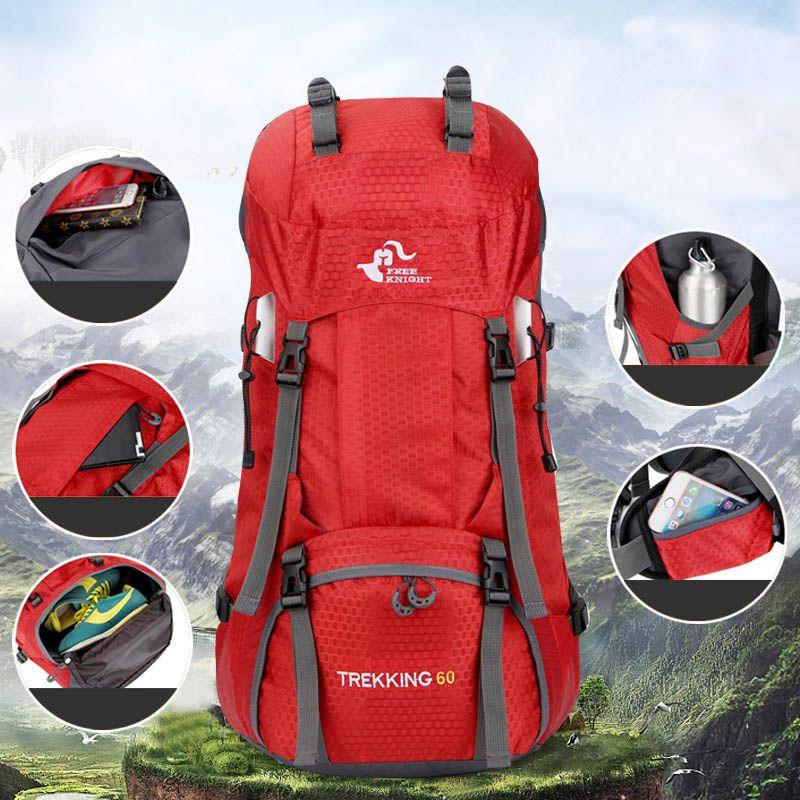60L التخييم حقيبة الظهر المشي لمسافات طويلة للماء الرحلات حقيبة رجل امرأة السفر في الهواء الطلق الظهر الدراجات Daypacks تسلق الجبال حقائب تحمل على الظهر