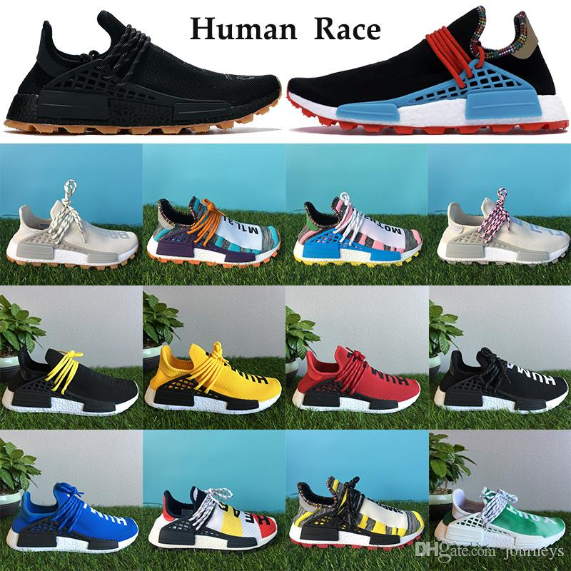 جديدة أفضل سباق الاحذية البشرية الرجال النساء PW NMD المدربين الإلهام بلاك باك هو فاريل الشمسية حزمة البرتقال الأبيض أحذية رياضية مع مربع