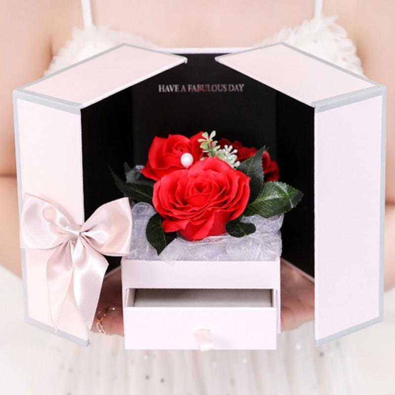 Романтическая свадьба Мыло розы цветы Тело Ванна Поставками Валентина День подарков Творческое ожерелье ювелирных изделий Box Набор для девочки