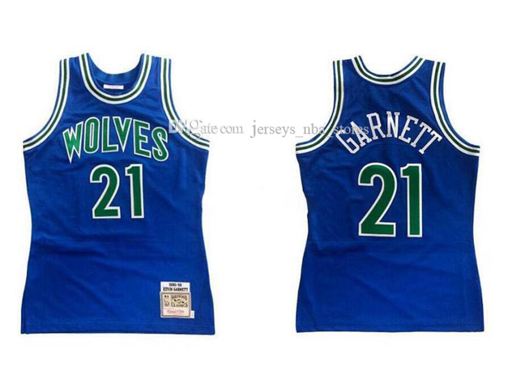 Erkek Basketbol MinnesotaTimberwolves21 KevinGarnett Mitchell Ness 1995-96 Sert Ağaç Klasikleri Otantik Jersey 01