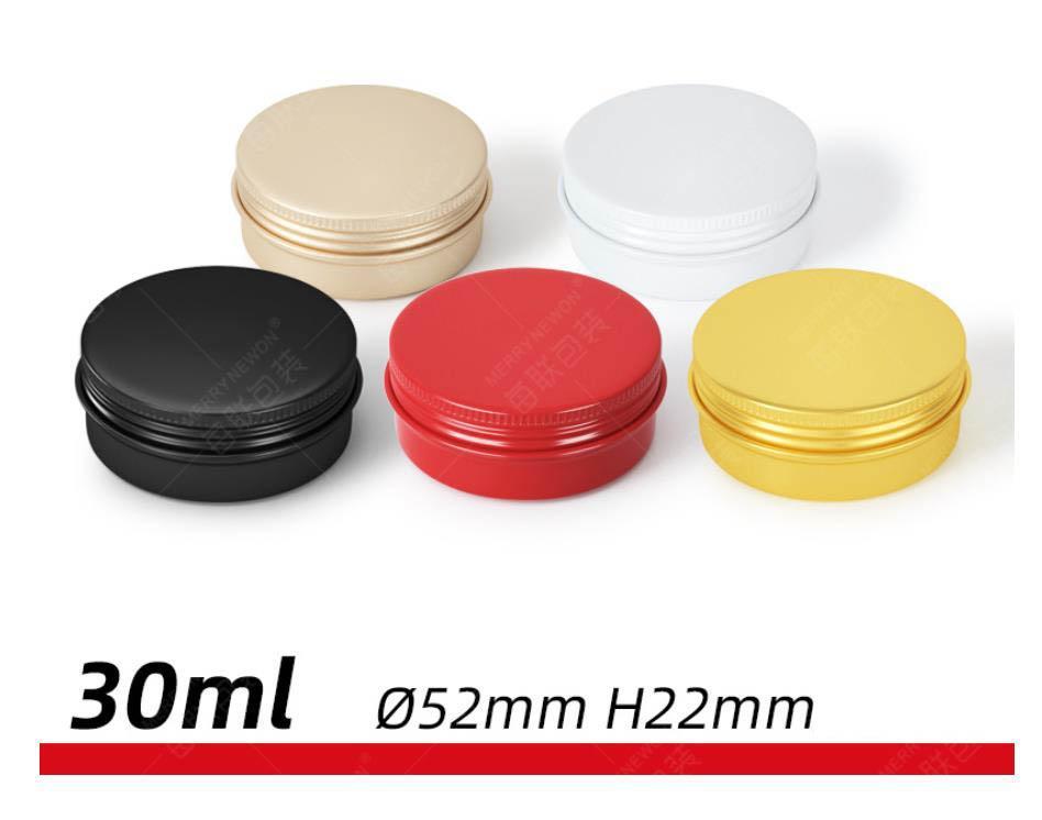 30ml / 60ml contenitori di alluminio del vaso tondo Lip Balm latta di stoccaggio con coperchio a vite per Lip Balm, cosmetici, candele o del tè