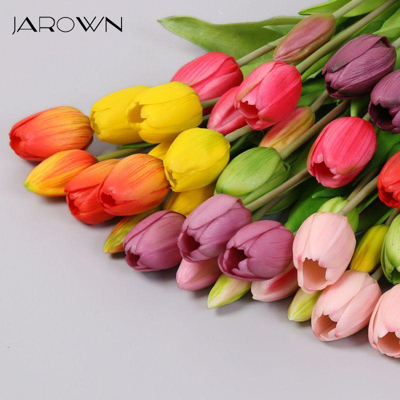 JAROWN 5 teste del fiore del tulipano artificiale Bouquet tocco reale artificiale falso fiori per il matrimonio decorazioni Flores casa Garden Decor