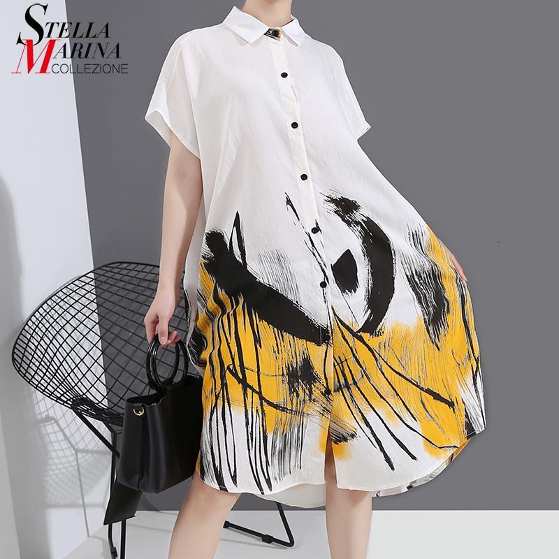 Nuove 2020 coreano Graffiti Stampato Stile estate delle donne bianca più signore di formato casuale Streetwear Vestito longuette vestidos 6123