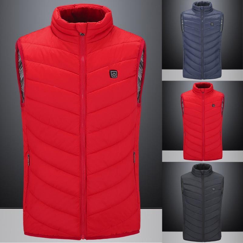Homens Inverno aquecida Brasão sólida acolchoado Cotton Vest Quente Grosso Vest Tops Jacket Brasão de Moda de Nova inverno Veste Homme Hiver E1