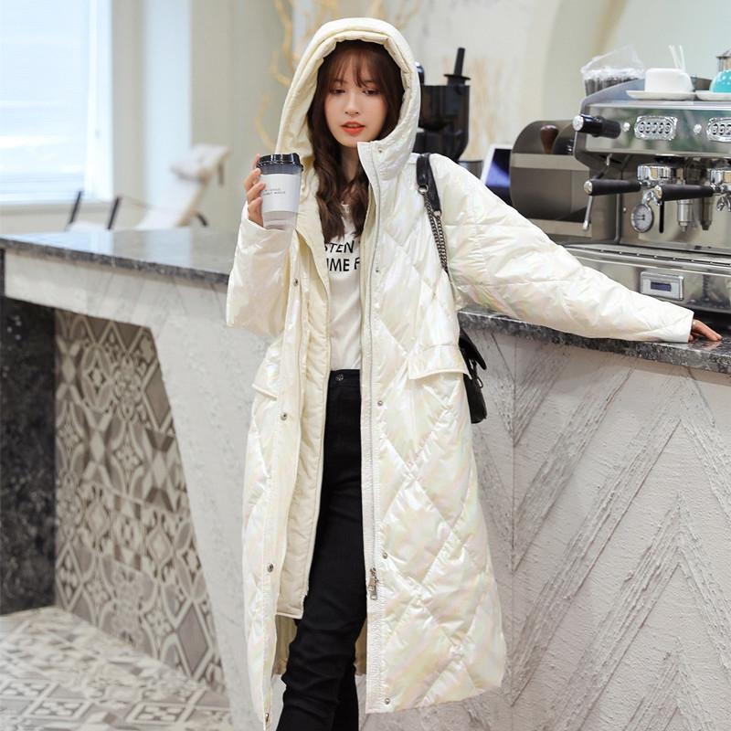 axQhB 2020 nuovo autunno e l'inverno gambaletto luminosa Giù Giacca donna piumino faccia colorata lunga stile coreano finto sciolti addensato a due p