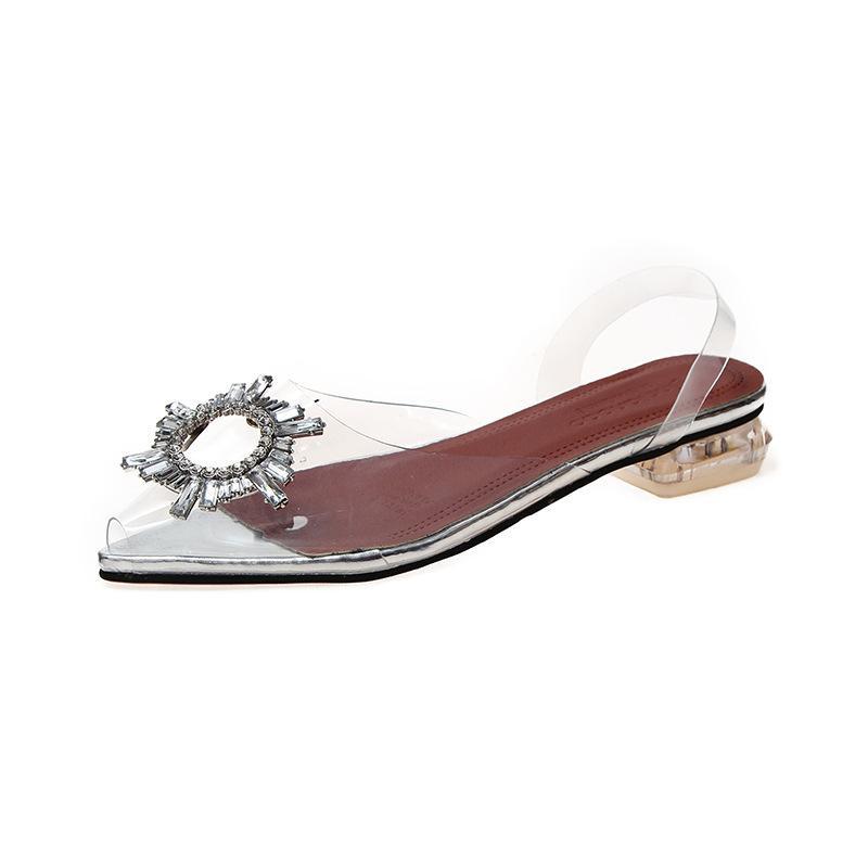 Zapatos cristalinos de la boda del Rhinestone de plata sandalias de las mujeres señoras del verano bajo atractivo del partido zapatos de los tacones señaló las sandalias superficiales