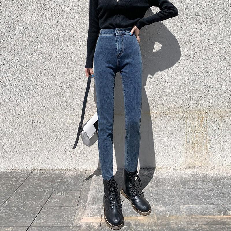 GUUZYUVIZ alta flessibilità denim jeans donna pantaloni casual push Autunno Inverno in sui jeans a vita alta matita donna Pantalone
