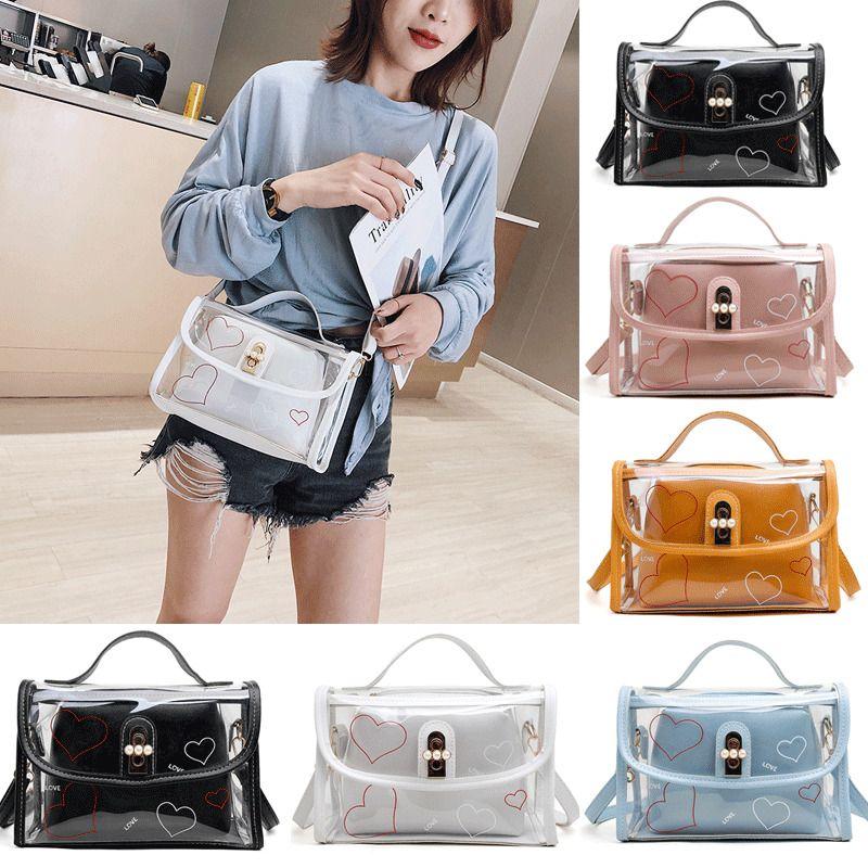 Jelly Luxury Hot Women Transparent PVC Chain Newest Composite Cross Shoulder Bag 2020 Bag Body Tote Summer Handbag Qhggr