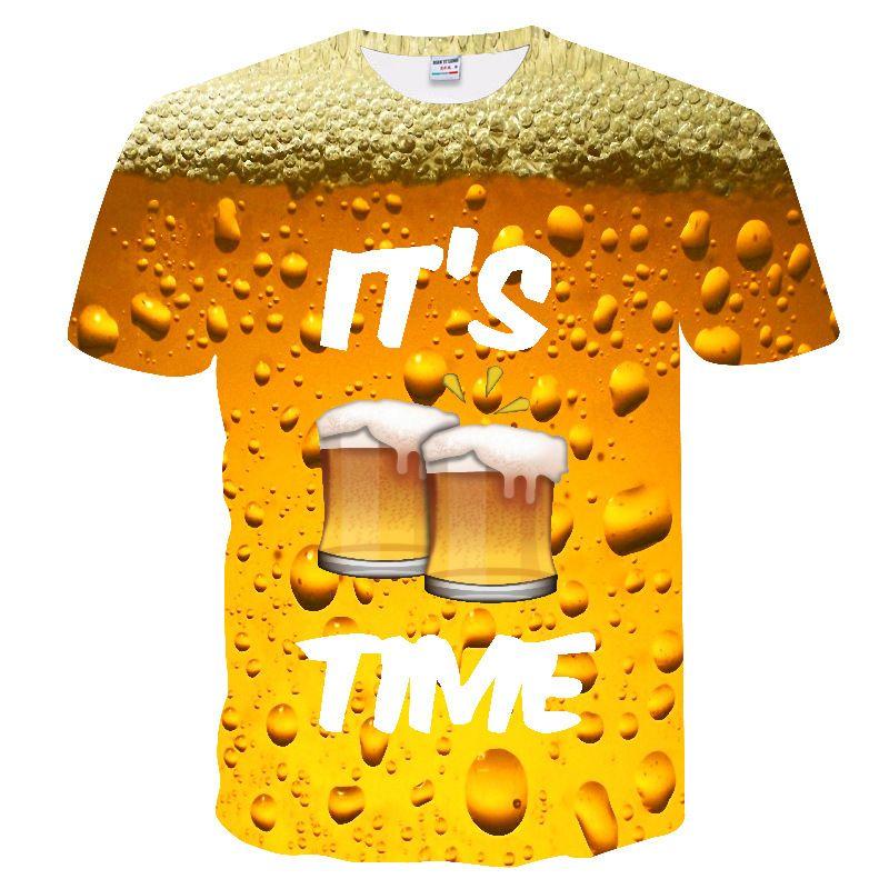 3D Tişörtlü Erkekler Casual Tee Gömlek Komik Bira Baskı tişört Erkekler Yaz Stili Parti Çift Esnekliği Tişörtlü sokak giyim Artı boyutu 6XL Tops