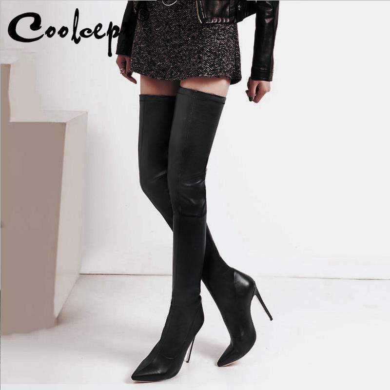 Coolcept Женщины высокие сапоги Западный стиль осень-зима Stretch обувь для женщин Sexy тонких каблуках над колена сапоги Размер 33-43