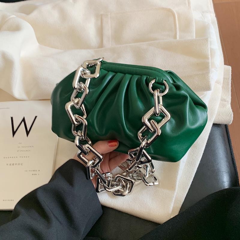 Sac élégant Femme souple Qualité Designer New Crossbody femmes en cuir sac à main vintage en métal de la chaîne d'épaule Messenger Bag 200923