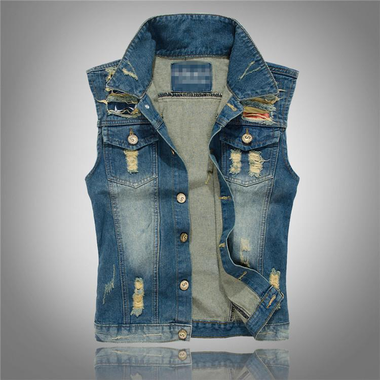 Los hombres de mezclilla chaleco sin mangas de la chaqueta de Jean Agujero rasgado Casual Male más el tamaño M-5XL Jeans Chaleco solo pecho masculino Colete