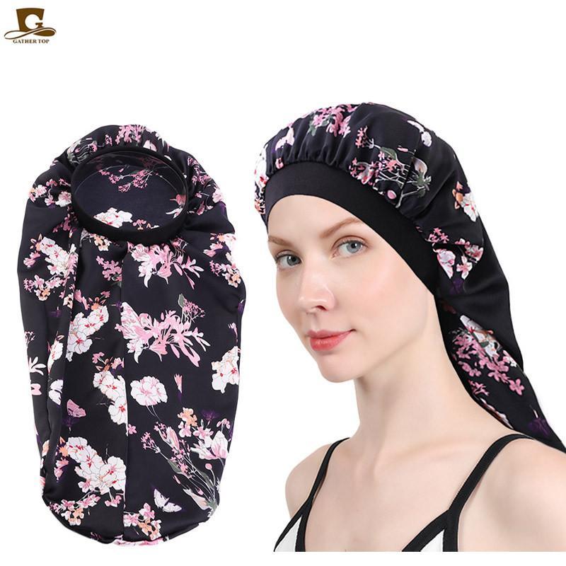 2020 Durag señoras de pelo banda elástica sombrero de turbante estilo rural imitación de seda gorro de dormir sombreros de las mujeres sombrero de la manera del headwrap del capo Turbante