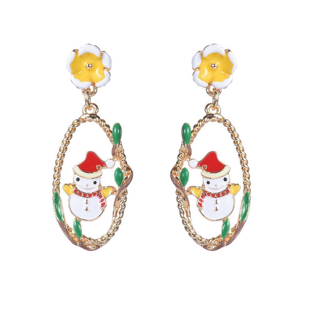 Designer Boucles d'oreilles de mode de Noël Bonhomme de neige d'oreilles pour femmes jolies filles Teens émail coloré Lady Bijoux Big Boucles d'oreilles charme