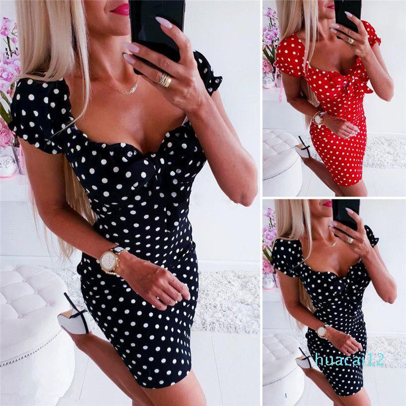 Hot Sale Sundress Beachwear New Womens One Piece Pajamas Home Service Summer Dress Women Girl Boho Polka Dot Sexy Bodycon Dress Holiday