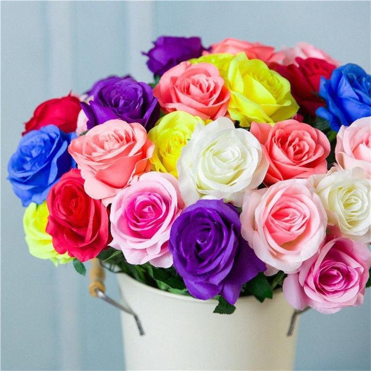 Simulazione fiore singolo panno di seta decorazione Rose Wedding rosa Decorazione del salone per feste fiore T9I00359 ujGn #