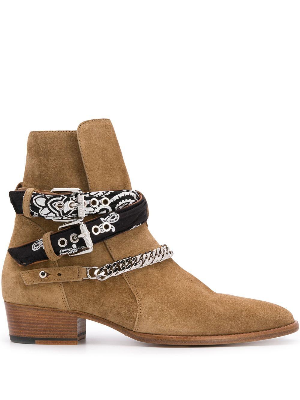 Yeni Sezon Erkek Ami Ri Zincir süslenmiş Bilek Boots Bandana Baskı Yan Toka Çakma Yuvarlak Burun Ayakkabı