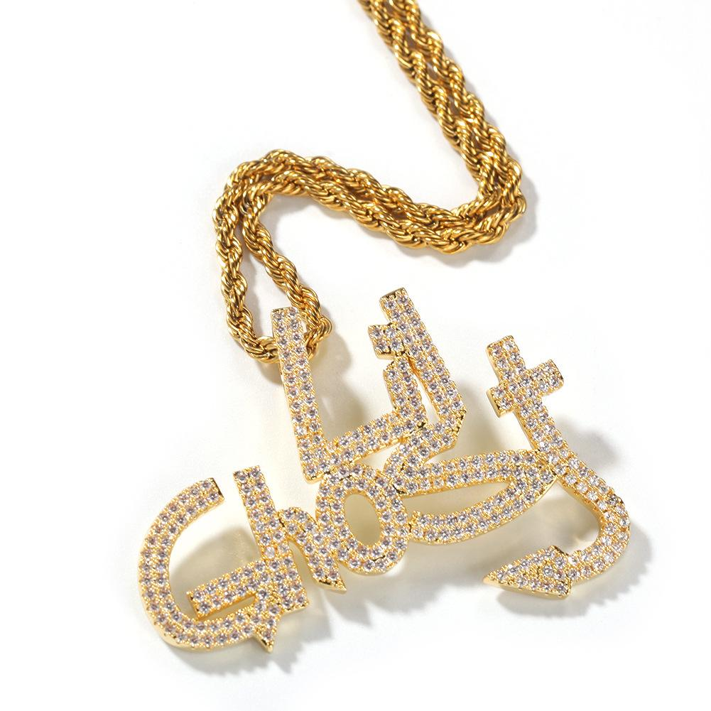 Stainless Steel With Diamond Lil Ghost Necklace Hip-hop Necklace Personality Pendant Accessories New Design Necklace