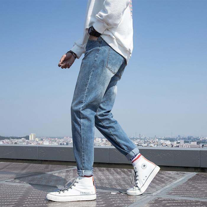 dZeaI tendance à la mode extensible mince droite jeans coréenne hommes jean pantalon printemps style 2020 et un pantalon long casual stretch été
