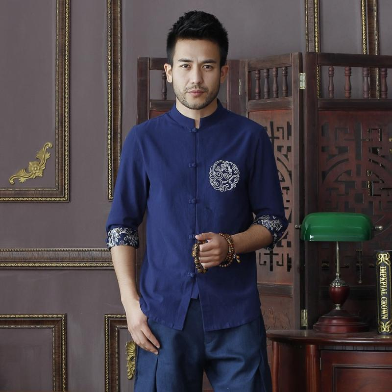 Camicie casual da uomo Summer Summer Blue Blue Blue Biancheria Biancheria Biancheria in cotone Top Vintage Cinese Manica Corta Tang Tang Suit Size S M L XXL XXXL D10