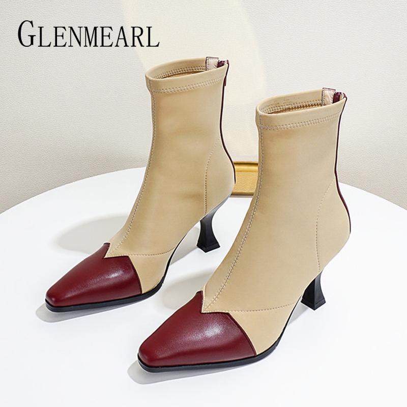Botas de couro genuíno mulheres sapatos retro quadrado zíper bloco de cor estiramento Moda tornozelo marca 2021 moda