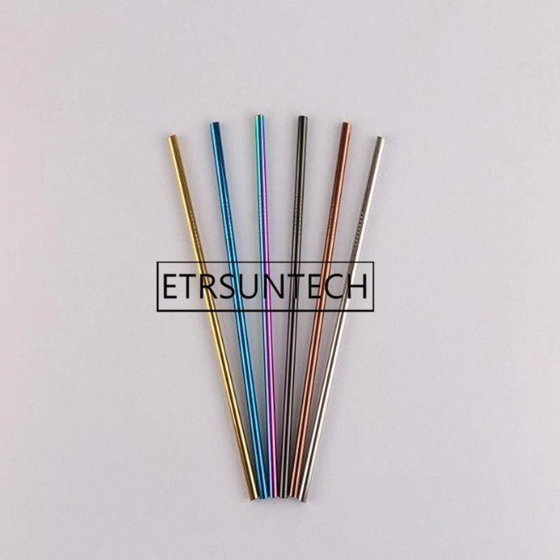 500pcs Drinking Straw Reusable Diameter 8mm Juice Straws Stainless Steel Straw Straight Bent Party Supplies 215mmx8mm mcOP#