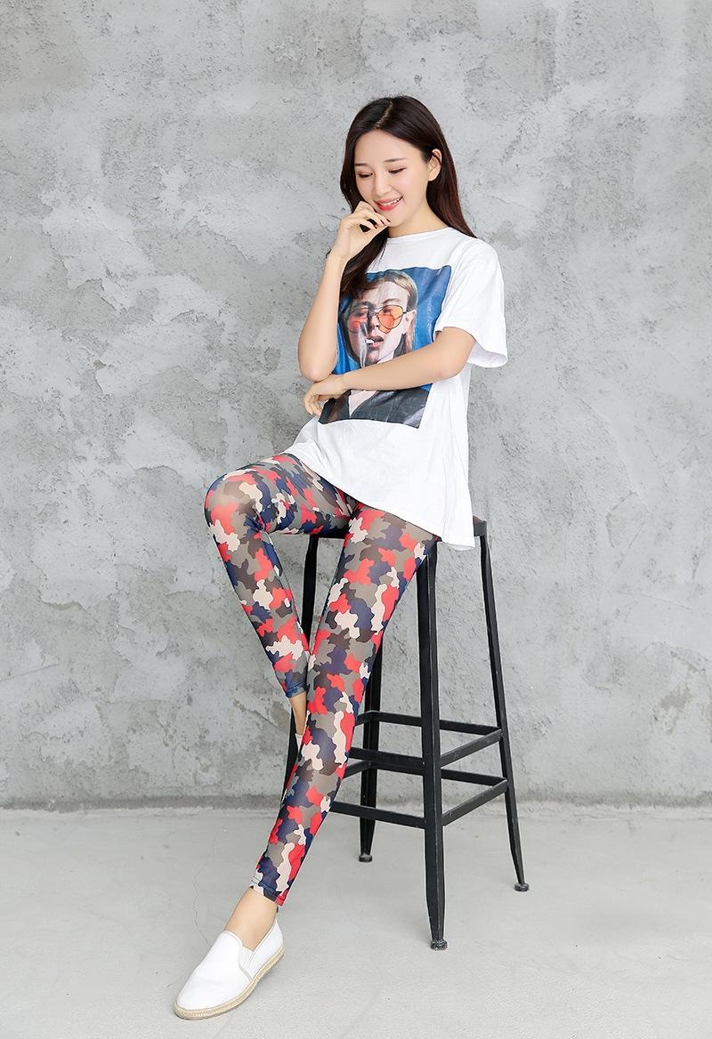 uAxLt 2020 calças calças apertadas apertado nova malha de camuflagem calças de Verão padrão das mulheres até os tornozelos sexy coreano moda de Slim Leggings