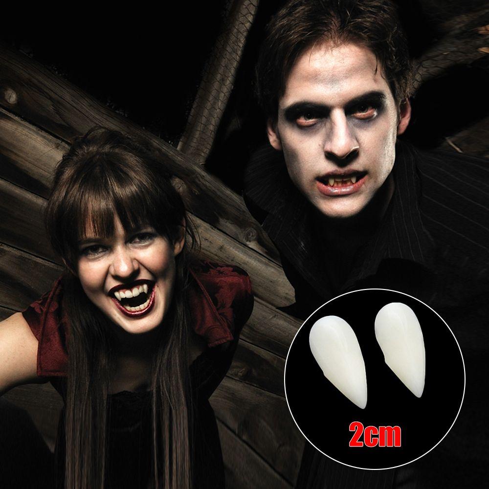 Ein Paar von Halloween-Vampirs-Zombie Falschen Zahn-Zahn-Trick-Spielzeug-Partei-falschen Zähne Kostüm Requisiten leicht zu reinigen (1,3 cm, 1,5 cm, 1,7 cm, 2cm)