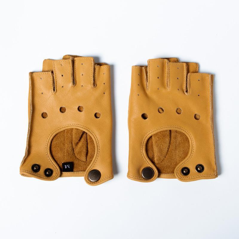 Мотоцикл перчатки подлинной натуральной кожи мужчин Браун ретро motorsiklet Половина Finger перчатки Мотоцикл Guantes Мото езда перчатки