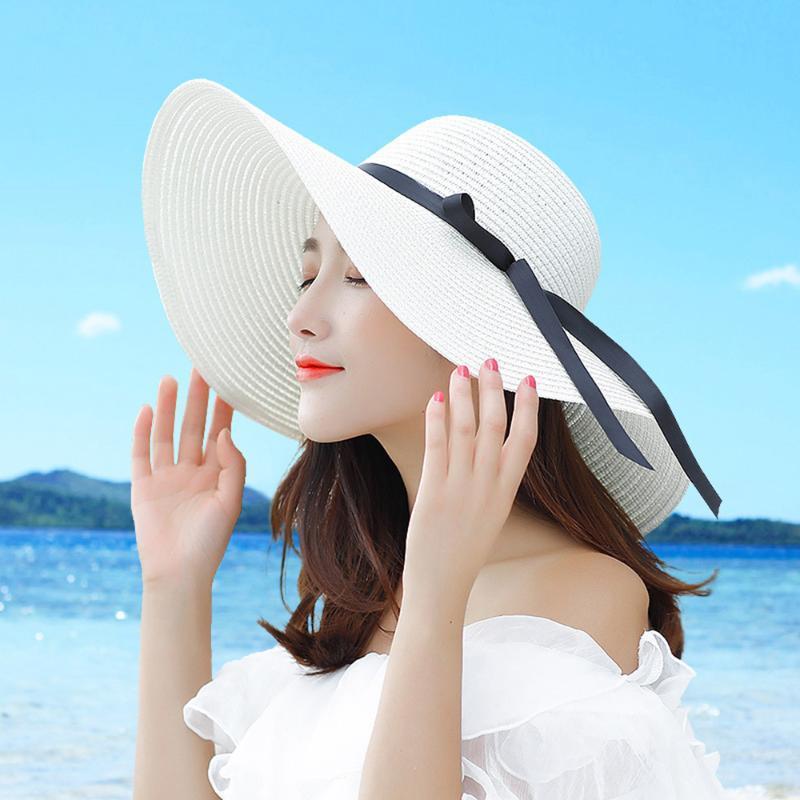 Летняя Соломенная шляпка Женский шлемов Sun Большой Coastal лук Не корейский Свежий Солнцезащитный Складной Caps Пляж Купол ручной работы на открытом воздухе белый