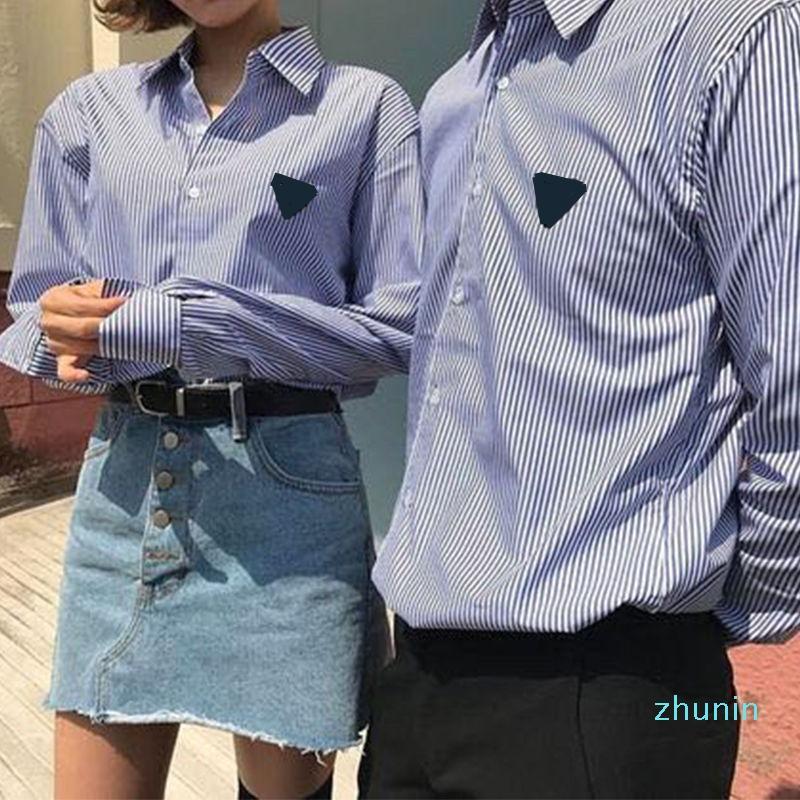 Hot venda-2020 Homens casal listrado T-shirt das senhoras verão e outono T da forma do bordado top de mangas compridas