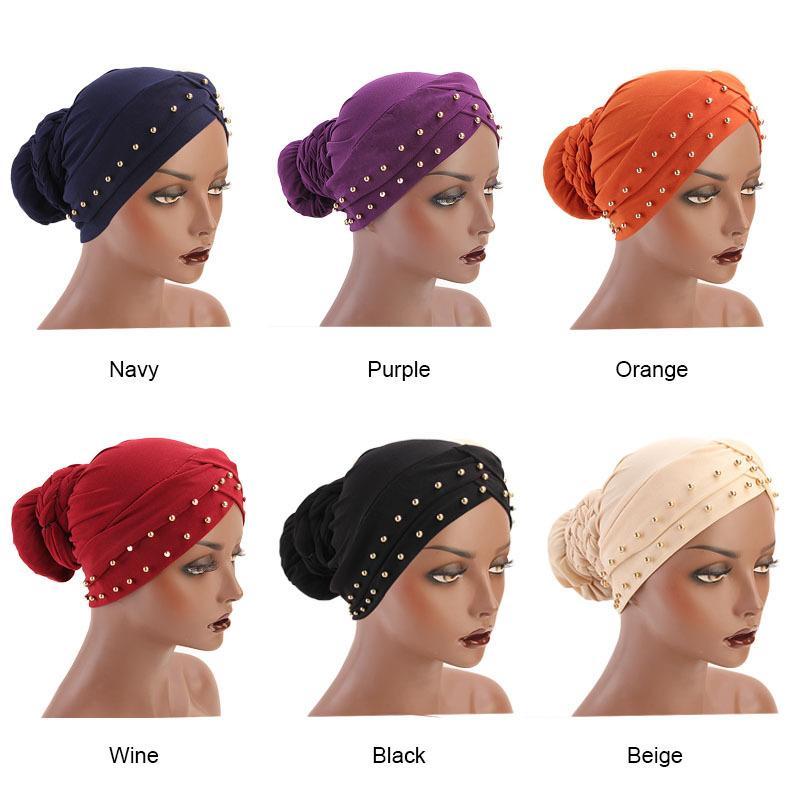 Vintage Bandana Echarpes musulmans Vêtements musulman Turban Wraps Femmes Pure Color Hijab Tresses Caps Femme Accessoires cheveux