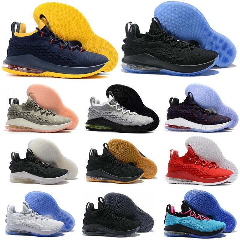 Erkekler 15s Spor Eğitimi Spor Ayakkabılar 40-46 New Kalite Geliş 15 Düşük Eşitlik Siyah Mor Sarı Beyaz Basketbol Ayakkabı