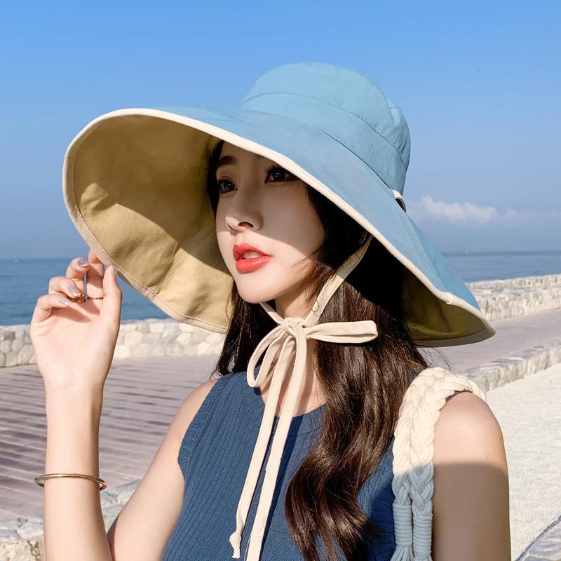 6 цветов Женщины шлемов ведра Защита от ультрафиолетовых лучей ВС Hat Широкий Брим козырька шапки Lady Sunbonnet Fedoras Solid Color Summer Travel Beach Cap