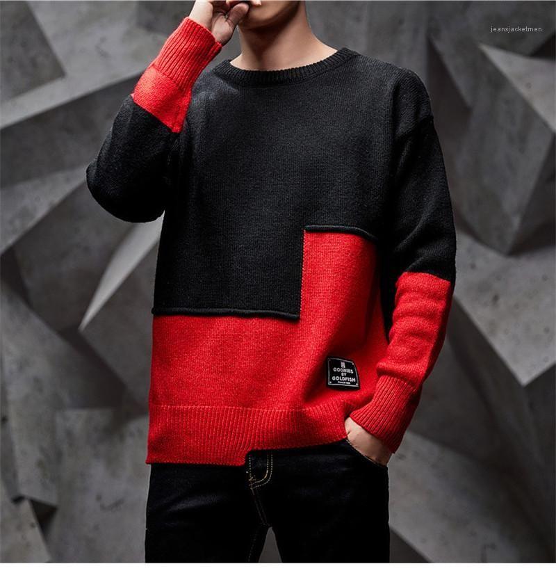 Suéter de la manera más el tamaño de punto jersey de otoño masculino remiendo grueso Tops para hombre del diseñador del invierno