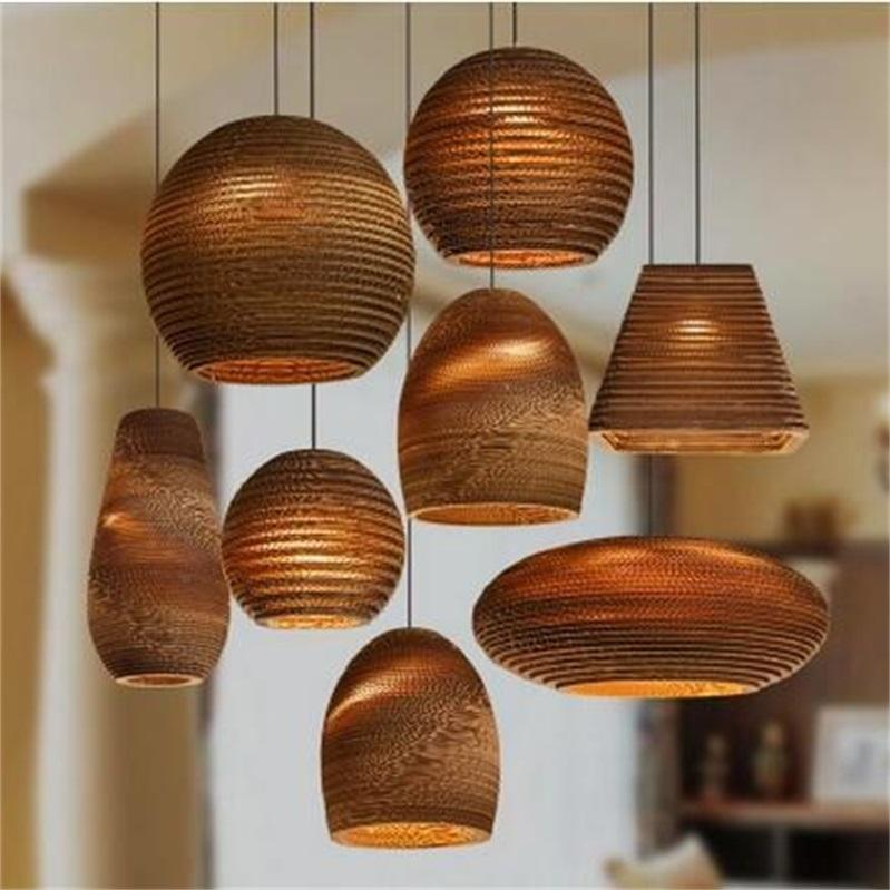 Southeast Asian Woven Paper Bare Pupa, Asian Style Hanging Lamps