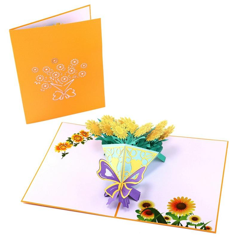 3D Sunflower Bouquet Greeting Cards Creative Handmade Paper Greeting Card Personality High Quality Mother's Day Gift