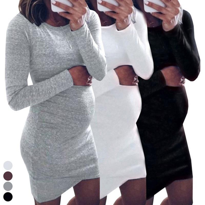 Primavera Otoño 2020 vestido de manga larga vestido de maternidad contratado O-Cuello Para mujeres embarazadas Embarazo ocasionales adelgazan Sólido