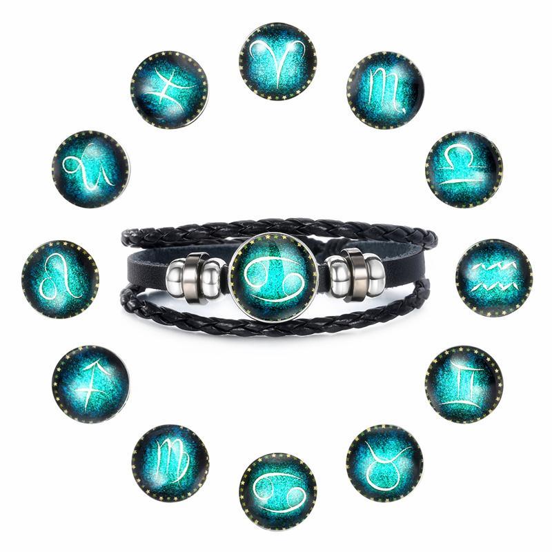Moda Luminous 12 Perle Segno della costellazione del braccialetto di fascino dello zodiaco pelle braccialetti per le donne gli uomini punk gioielli e accessori
